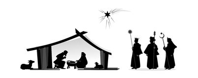 Nativity play. With silhouettes and baby jesus Stock Image