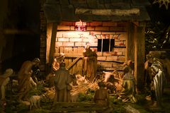 Nativity scene. A christmas scene with detailed wooden figures. Canon 5D, Sigma 2,8/150, raw Stock Image