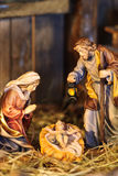 Nativity scene. With hand-colored figures made out of wood royalty free stock image
