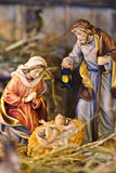 Nativity scene. With hand-colored figures made out of wood stock photo