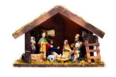 Nativity Scene. Wooden christmas crib, handcarved isolated on white Royalty Free Stock Photos