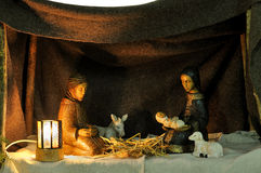 Nativity scene. In ceramic figures Royalty Free Stock Photography