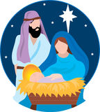 Nativity Scene. With Mary,Joseph and the Baby Jesus Stock Images