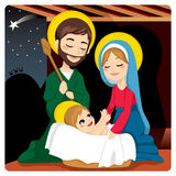 Nativity Scene. Joseph and Mary joyful with baby Jesus laughing and three wise kings on the horizon following the Star of Bethlehem Stock Photo