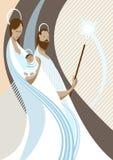 Nativity scene. Illustration of the nativity scene with Mary, the child Jesus and San Jose Stock Photo