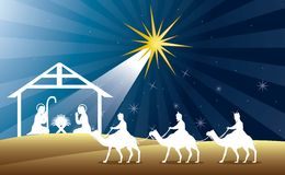 Nativity scene. With wise men over night background. vector Stock Images