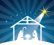 Nativity scene. Over night background. vector illustration Royalty Free Stock Photo
