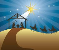 Nativity scene. With wise men over night background. vector Stock Photo