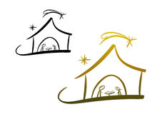 Nativity Scene. Line-art drawing illustrating the birth of Jesus of Nazareth (two color versions included royalty free illustration