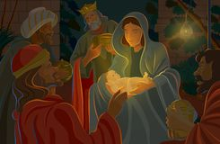 Nativity Scene. Birth of Christ, surrounded by family and wise men royalty free illustration