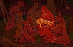 Nativity Scene. Birth of Christ, surrounded by family friends and farm animals stock illustration