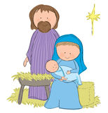 Nativity Scene. Hand drawn picture of a nativity scene with Mary, Joseph and baby Jesus. Illustrated in a loose style. Vector eps available Stock Photography