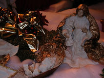 Nativity scene. Figures of the Virgin Mary and Baby Jesus Royalty Free Stock Photo