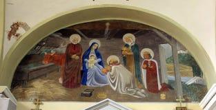 Nativity Scene. Adoration of the Magi stock photos