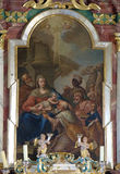 Nativity Scene, Adoration of the Magi. Altarpiece in parish church of the Holy Trinity in Krasic, Croatia Stock Photos
