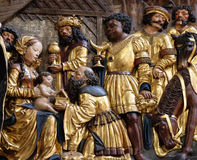Nativity scene, adoration of the Magi. Maria am Berg church in Hallstatt, Austria Royalty Free Stock Photography