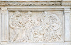 Nativity Scene, Adoration of the Magi. Relief on portal of Saint Petronius Basilica in Bologna, Italy Royalty Free Stock Photo