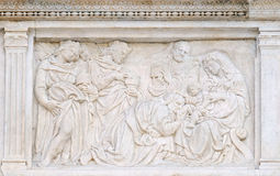 Nativity Scene, Adoration of the Magi. Relief on portal of Saint Petronius Basilica in Bologna, Italy Stock Photography
