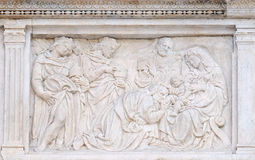 Nativity Scene, Adoration of the Magi. Relief on portal of Saint Petronius Basilica in Bologna, Italy Royalty Free Stock Images