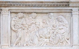 Nativity Scene, Adoration of the Magi. Relief on portal of Saint Petronius Basilica in Bologna, Italy Stock Photo