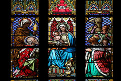 Nativity Scene, Adoration of the Magi. Stained glass window in parish church of Saint Mark in Zagreb, Croatia Royalty Free Stock Image