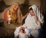 Nativity scene alive stock images