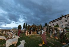 Nativity scene in Assisi, in front of S.Francesco papal church,. Christmas 2017 royalty free stock photo