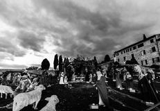 Nativity scene in Assisi, in front of S.Francesco papal church,. Christmas 2017 stock image