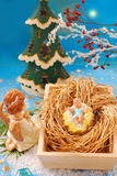 Nativity scene with baby jesus and angel Stock Image