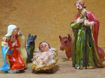 Nativity scene with baby jesus Mother Mary and joseph. Nativity scene with baby jesus at Christmas Royalty Free Stock Photography