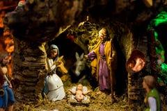 Nativity scene with baby Jesus royalty free stock photos