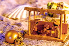 Nativity scene on a beach Royalty Free Stock Images