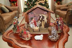 Nativity Scene in beautiful living room. Peaceful Nativity Scene in beautiful living room depicting the birth of Jesus Christ royalty free stock photo