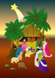 Nativity scene in bright colors. Royalty Free Stock Images