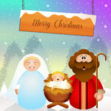 Nativity scene cartoon Stock Photo