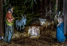 Nativity scene in the cathedral of Strasbourg, France Royalty Free Stock Images
