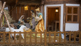 Nativity scene. A christmas scene with detailed wooden figures. Germany Stock Photography