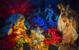 Nativity Scene Christmas. A christmas scene. The Holy family, Jesus, Joseph & Mary Royalty Free Stock Photos