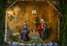 Nativity Scene Christmas. The Holy family, Jesus, Joseph & Mary all togethe. Germany Stock Image