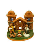 Nativity Scene Christmas. The Holy family, Jesus, Joseph & Mary all together. Ceramic product from PERU Stock Images