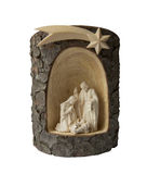 Nativity Scene Christmas. The Holy family, Jesus, Joseph & Mary all together. Wooden product isolated on white background Stock Images