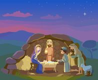Nativity scene. Christmas illustration Stock Images