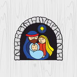 Nativity scene. Christmas. Mary, Joseph and small Jesus. Stock Photo