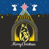 Nativity scene. Christmas. Mary, Joseph and small Jesus. Night Bethlehem. Stock Photos