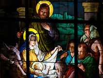 Nativity Scene at Christmas - Stained Glass Royalty Free Stock Image