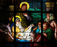 Nativity Scene at Christmas - Stained Glass Stock Photography