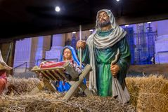 Nativity scene at christmas tradition market. Nativity scene with statues at christmas tradition market stock image