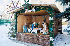 Nativity scene in Church of the assumption royalty free stock photo