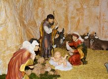 Nativity scene in the church of S. Francesco, Treviso, Italy Stock Photography