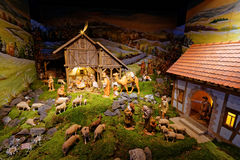 Nativity scene creative presentation in mountainous setting Stock Photography
